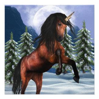 Rearing Chestnut Unicorn Invitations