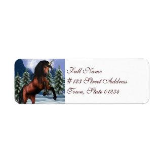 Rearing Chestnut Unicorn Mailing Labels