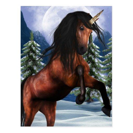 Rearing Chestnut Unicorn Postcard
