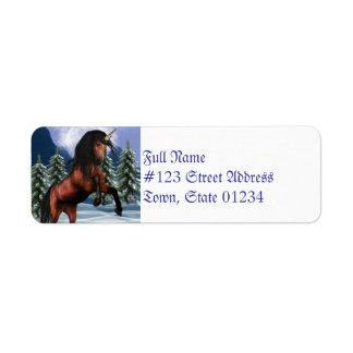 Rearing Chestnut Unicorn Return Address Label