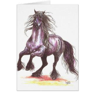 Rearing Friesian Horse Greeting Card