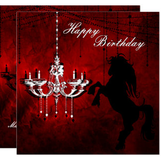 Rearing Horse and Chandelier Happy Birthday Card