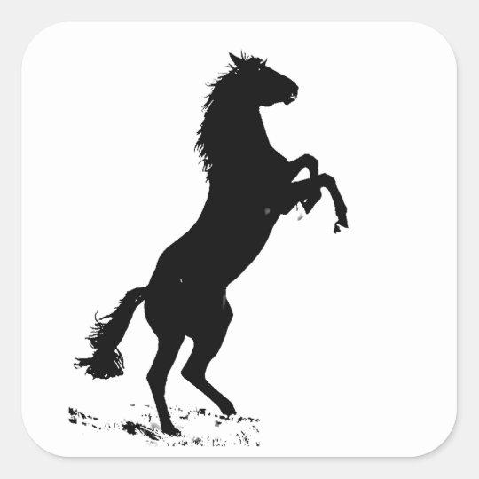 Rearing Horse Silhouette Square Sticker