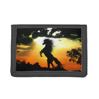 Rearing horse silhouette tri-fold wallets