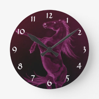 Rearing purple friesian horse Clock