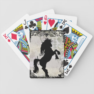 Rearing Silhouette Horse Playing Cards