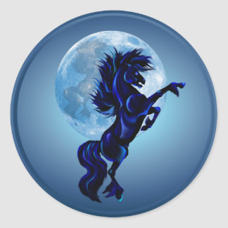 Rearing Stallion and Blue Moon-Sticker Classic Round Sticker