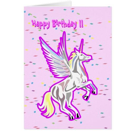 Rearing Unicorn Guardian Angel birthday card