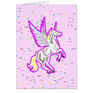 Rearing Unicorn Guardian Angel Note Card