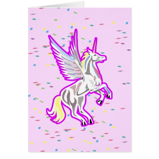 Rearing Unicorn Guardian Angel Greeting Cards