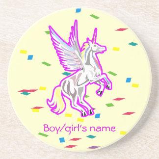 Rearing Unicorn Guardian Angel Coasters