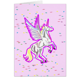 Rearing Unicorn Guardian Angel Note Card