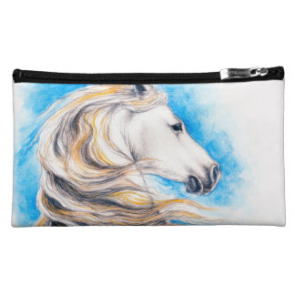 Rearing White Horse Cosmetic Bag