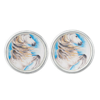 Rearing White Horse Cuff Links