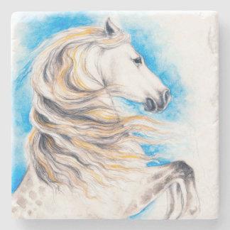 Rearing White Horse Stone Coaster