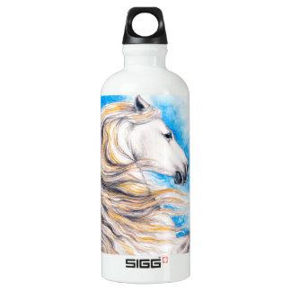 Rearing White Horse Water Bottle