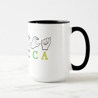 REBECCA FINGERSPELLED ASL NAME SIGN MUG