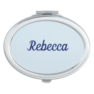 Rebecca Name Oval Compact Mirror - Blue