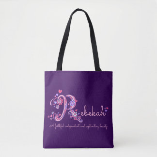 Rebekah R monogram art & name meaning bag