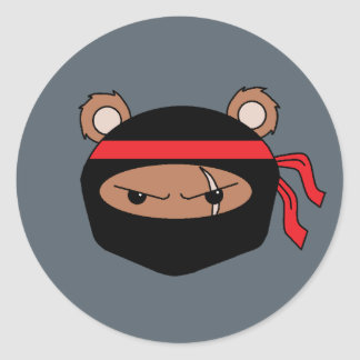 Rebel Bear Ninja Round Sticker