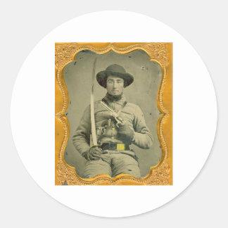 Rebel Calvalryman Round Sticker