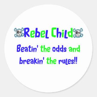 Rebel Child in Blues & Greens Round Sticker