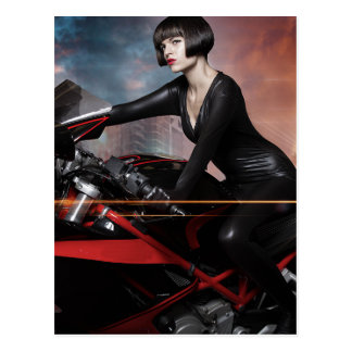 Rebel City, Sensual and Beautiful brunette woman Postcard