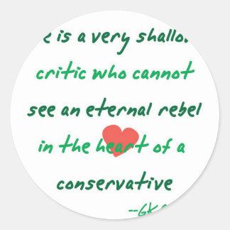 Rebel Conservative Round Sticker