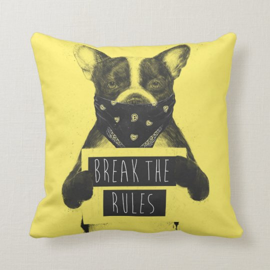 Rebel dog (yellow) throw pillow