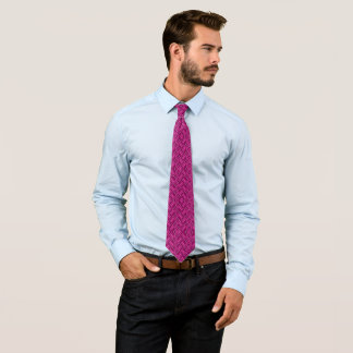 Rebel Hot Pink Three-Tone Diamond Pattern Tie