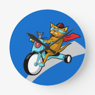Rebel Kitty Cat with Mouse Pal Round Wall Clocks