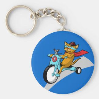 Rebel Kitty Cat with Mouse Pal Keychains
