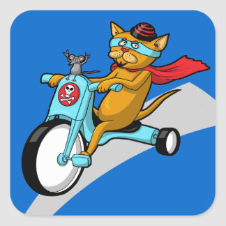 Rebel Kitty Cat with Mouse Pal Square Sticker