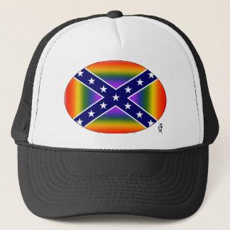 REBEL PRIDE RAINBOW TRUCKER HAT
