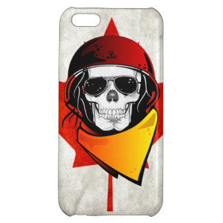 Rebel Skull Distressed Canadian Flag Cover For iPhone 5C