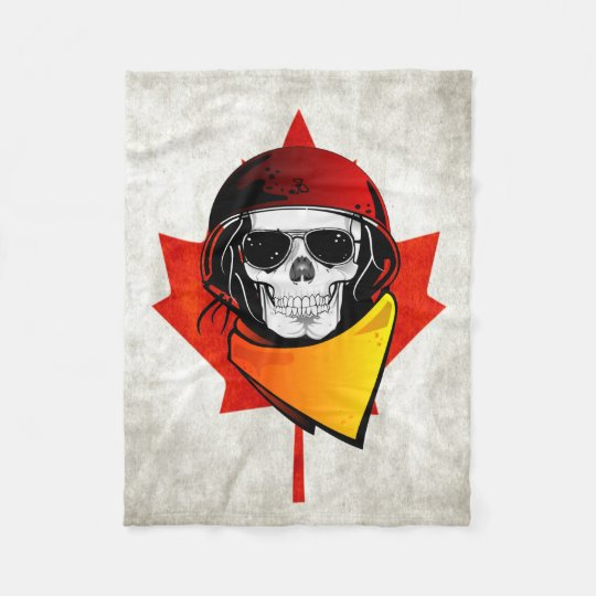 Rebel Skull Distressed Canadian Flag Fleece Blanket