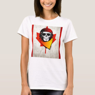Rebel Skull Distressed Canadian Flag T-Shirt