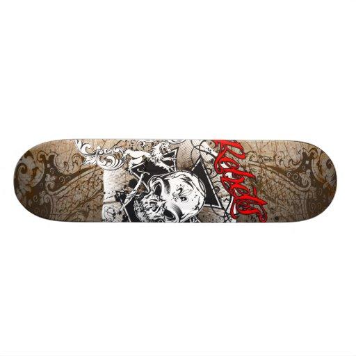 Rebel skull grunge board skateboard deck