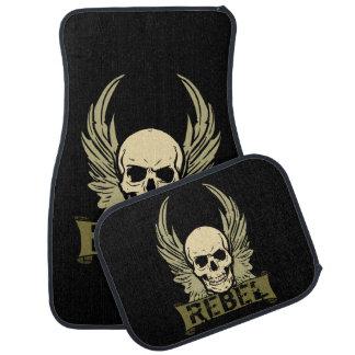 Rebel Skull With Wings Auto Floor Mat Set