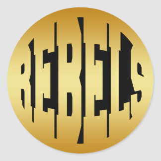 REBELS - GOLD TEXT CLASSIC ROUND STICKER