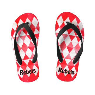 Rebels Red & White Diamond Child Flip Flops