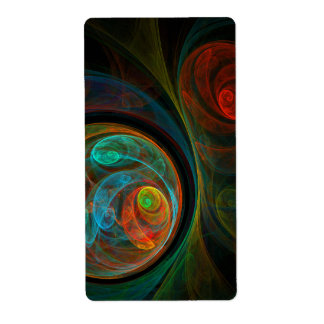 Rebirth Blue Abstract Art Fractal Shipping Label