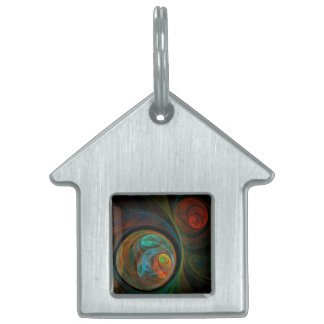 Rebirth Blue Abstract Art House Pet ID Tag