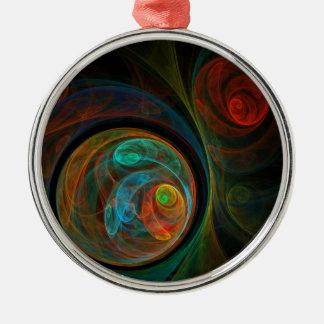 Rebirth Blue Abstract Art Round Silver-Colored Round Ornament
