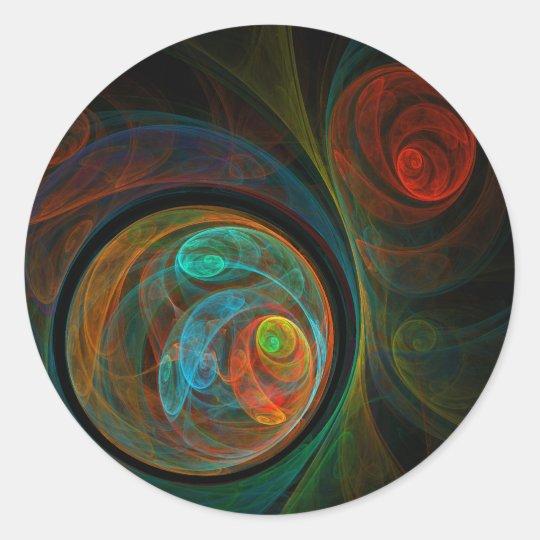 Rebirth Blue Abstract Art Round Sticker