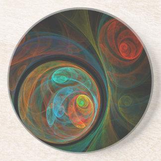 Rebirth Blue Abstract Art Sandstone Coaster
