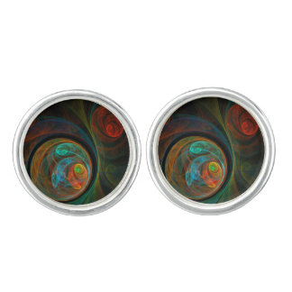 Rebirth Blue Abstract Art Silver Plated Cufflinks