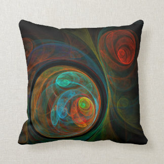 Rebirth Blue Abstract Art Throw Pillow