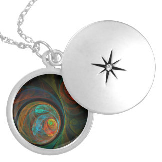 Rebirth Blue Abstract Silver Locket