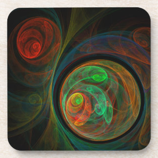 Rebirth Green Abstract Art Cork Coaster